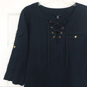 Tommy Hilfiger | Navy Blue Linen Tunic Top